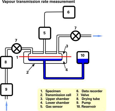 Testing setup for vapour transmission rate measurement